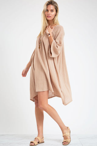 Women's 3/4 elbow length mini flare casual day dress. Oversized tunic dress in taupe
