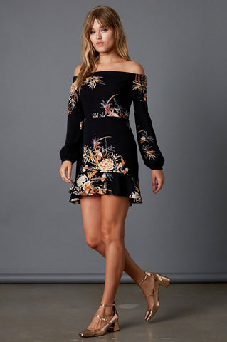 Women's long sleeve off the shoulder black floral print mini ruffle trim party dress