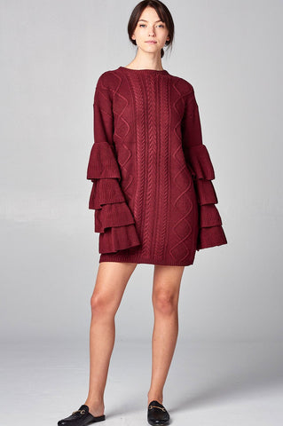 women's cableknit mini sweater dress with layered long sleeves. Burgundy.