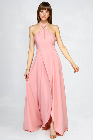 Women's sleeveless halterneck long maxi dress with slit. Twist neck party dress for wedding guest attire. Pink Mauve