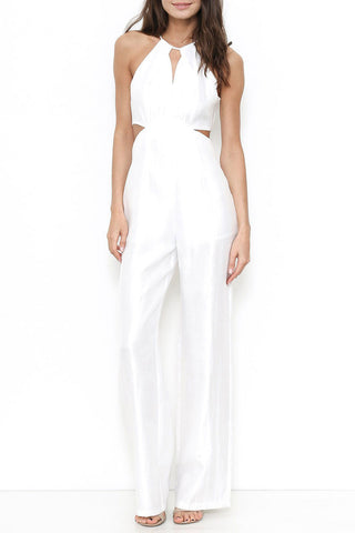 Women's sleeveless halterneck white jumpsuit with cutouts. Party, going out jumpsuit.