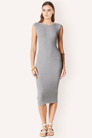 Women's Costa capped sleeve, sleeveless ribbed round neck below knee fitted bodycon midi sweater dress in light heather grey