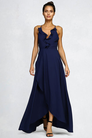 Women's sleeveless dark navy blue ruffle trim v-neck faux wrap long maxi dress for going out. Wedding guest attire.