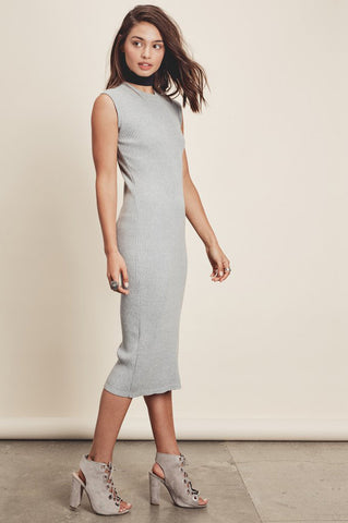 Womens sleeveless bodycon midi heather grey ribbed sweater dress. Front view