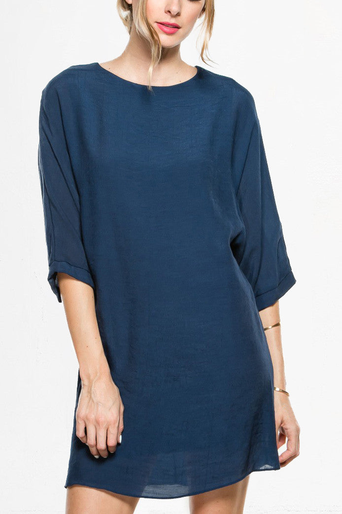 3/4 sleeve, bishop shift dress. Tunic style; front view