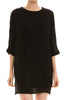 3/4 sleeve, bishop shift dress. Tunic style; front view, black