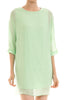 3/4 sleeve, bishop shift dress. Tunic style; front view, mint green,