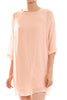 3/4 sleeve, bishop shift dress. Tunic style; front view, peach