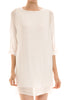 3/4 sleeve, bishop shift dress. Tunic style; front view, white