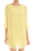 3/4 sleeve, bishop shift dress. Tunic style; front view, yellow