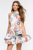 Street Style pink white floral print sleeveless fit flare skater party dress. Front view