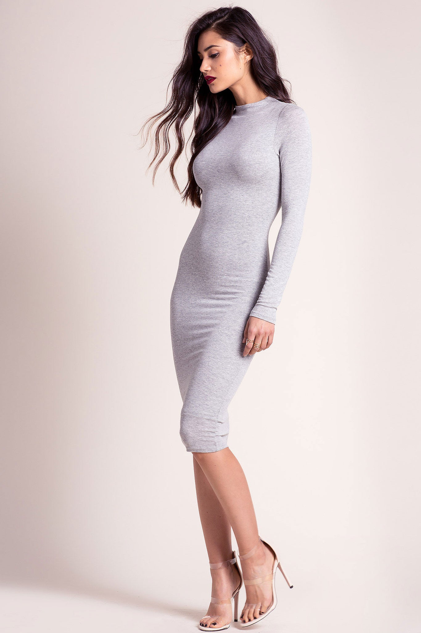 Grey Long Sleeve Bodycon Midi Dress