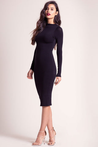 MEMDALET Women's long sleeve little black dress for cute outfits. Mock neck bodycon midi dress for cute outfits and outfit ideas.