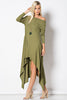 long sleeve high low maxi dress in micro-ribbed jersey fabric, in olive green, front view