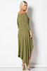 long sleeve high low maxi dress in micro-ribbed jersey fabric, in olive green, back view