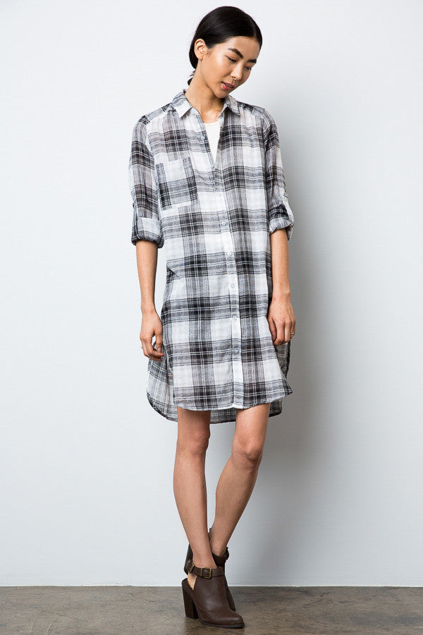 Black and White Plaid Button Down Casual Shirt Dress with adjustable long sleeves. Front view