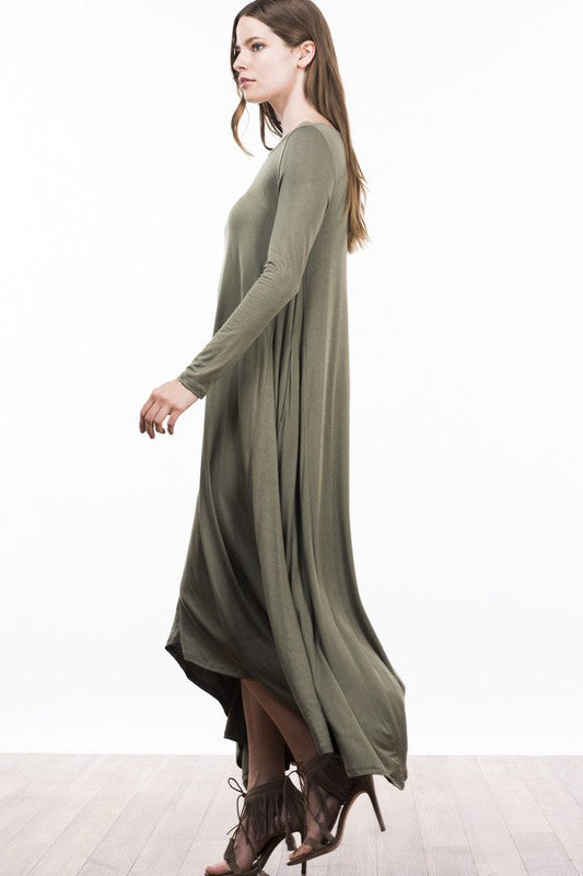 Womens Modest Tznius Dresses. Casual street style long sleeve jersey maxi dress in olive green. Front view