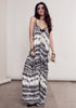Bohemian Festival Street style spaghetti strap black tie dye print maxi dress with pockets. Front view