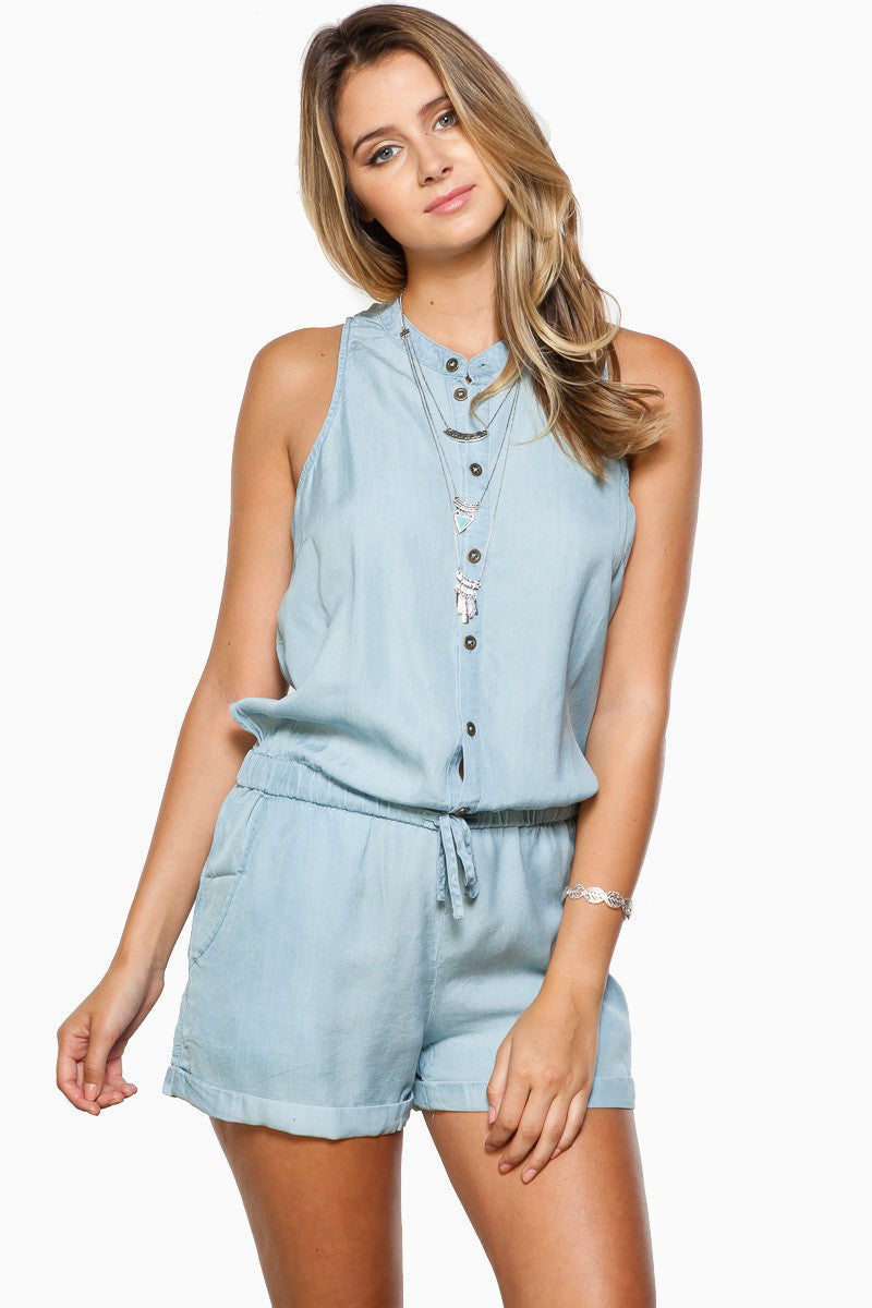 Street Style Light Blue Denim Chambray Sleeveless Romper Playsuit. Front view