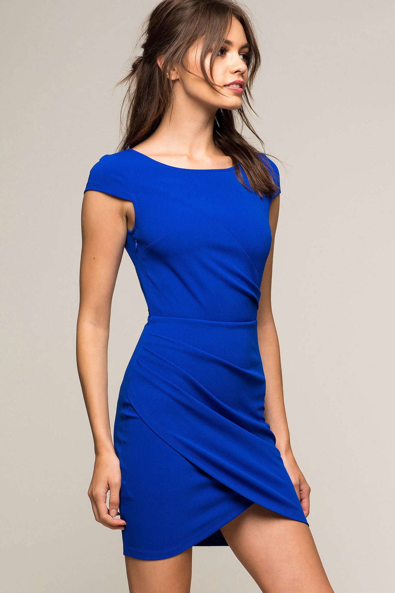 Womens party dresses outfits: Capped sleeve, cobalt blue, asymmetrical hem dress - mini. Front view