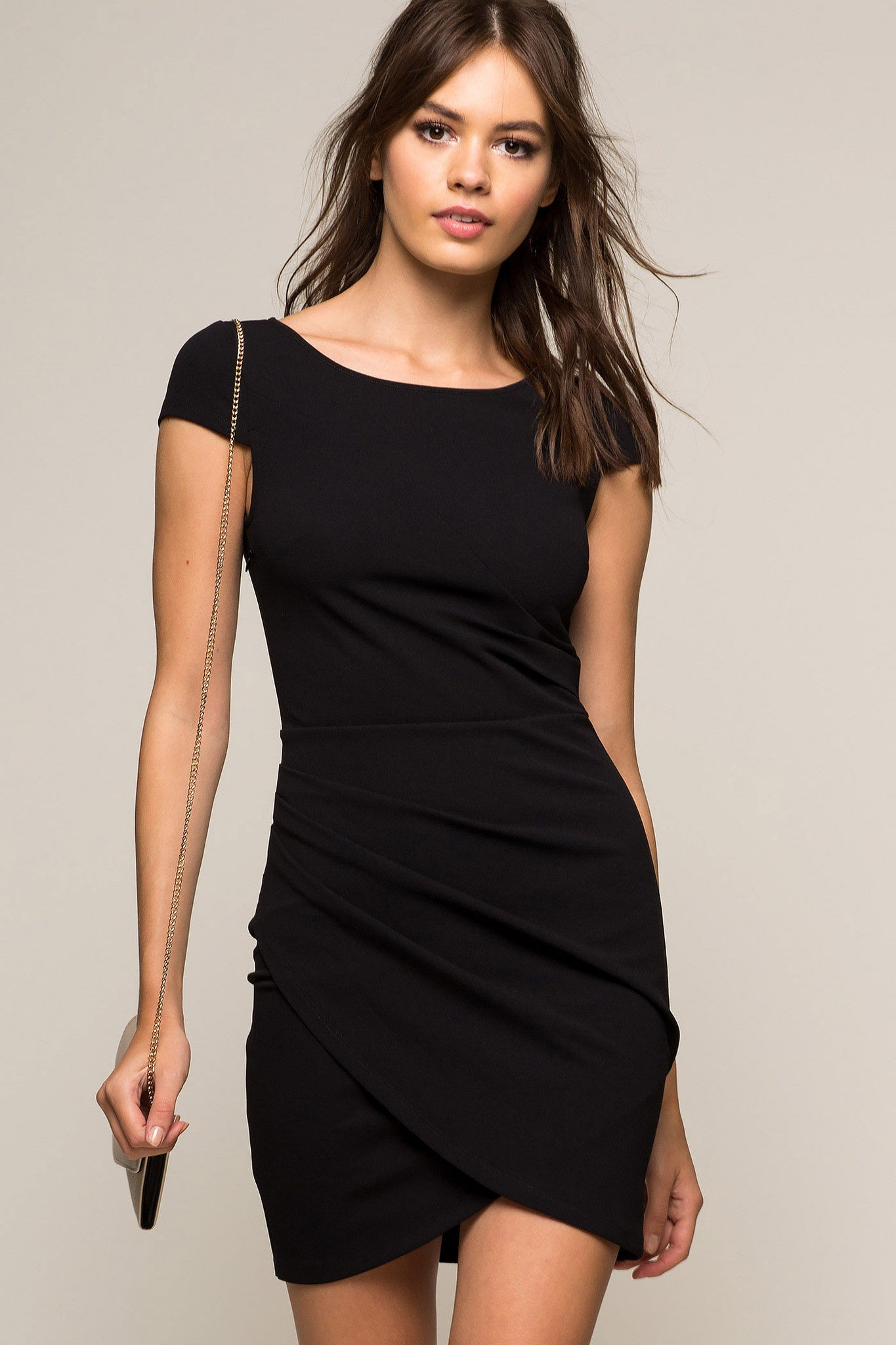Short little black party dress with back cut outs - Women S Black Bodycon Mini Dress With Cap Sleeves Front View