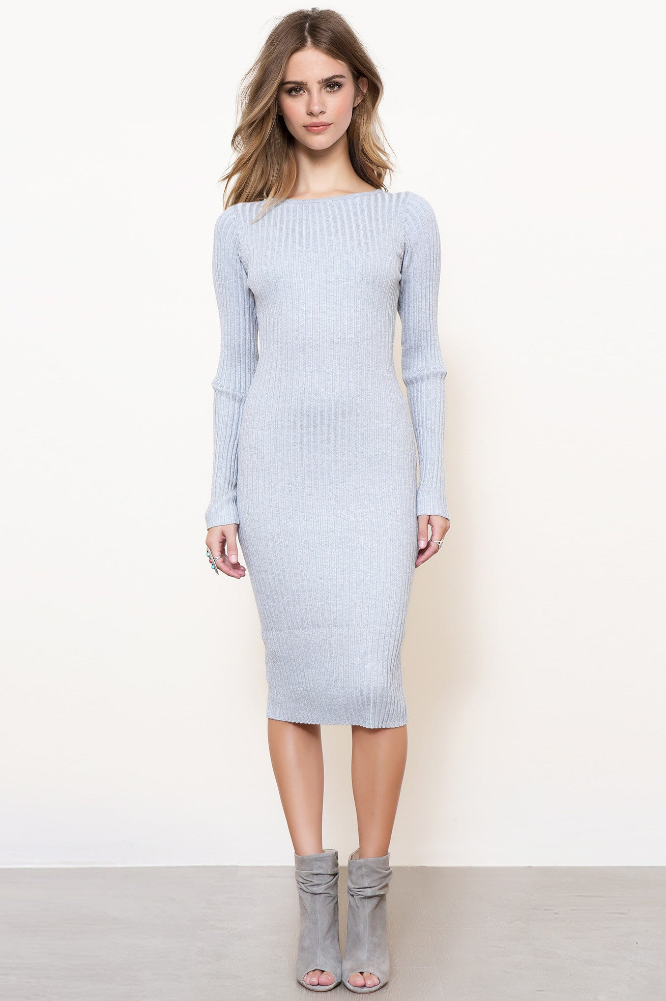 Long sleeve bodycon midi sweater dress in grey.  Front view