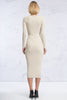 women's long sleeve v-neck ribbed bodycon midi sweater dress in cream. Front view