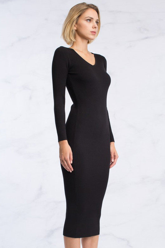 women's long sleeve v-neck ribbed bodycon midi sweater dress in black. Front view