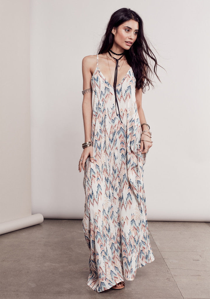 Bohemian Festival street style Pink print sleeveless spaghetti strap v-neck maxi dress. Front view