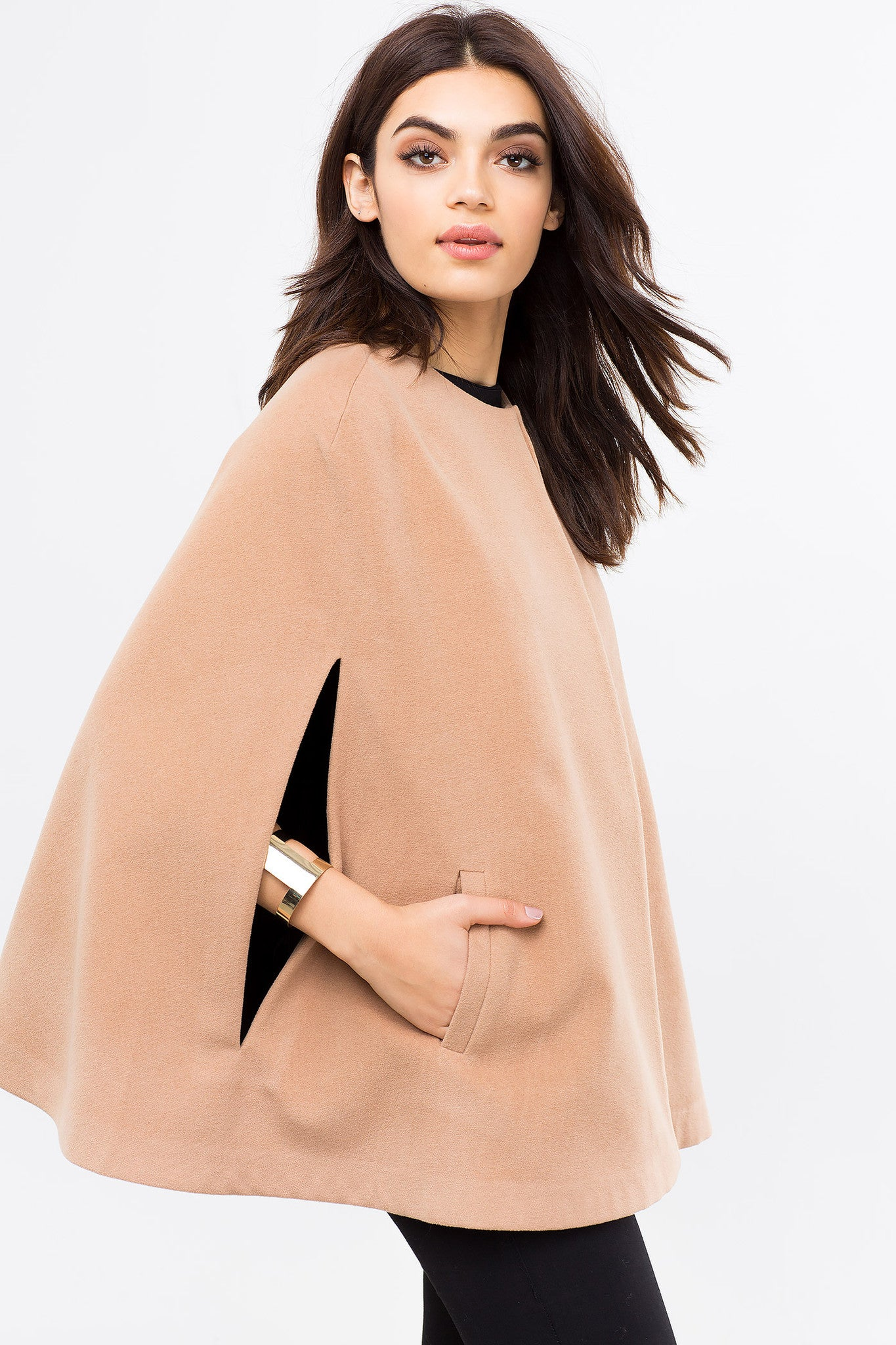 Open Front Slit Sleeve Cape with pocket, in camel tan, front view