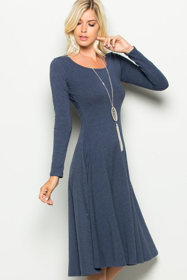 women's long sleeve scoop neck a-line t-shirt jersey midi dress. Front view