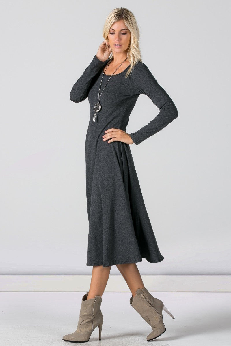 Women's long sleeve scoop neck a-line t-shirt jersey midi dress. Charcoal Grey. Front view