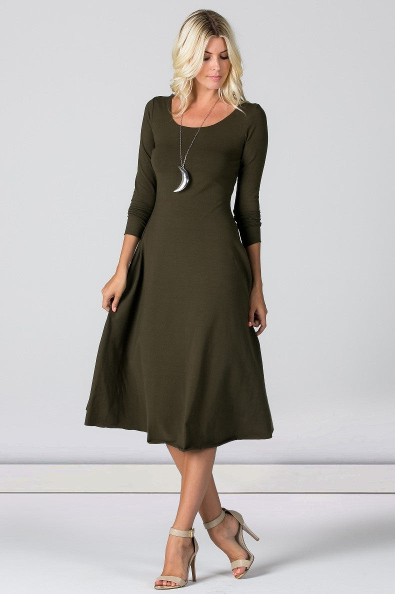 Women's long sleeve scoop neck a-line t-shirt jersey midi dress. Olive Green. Front view