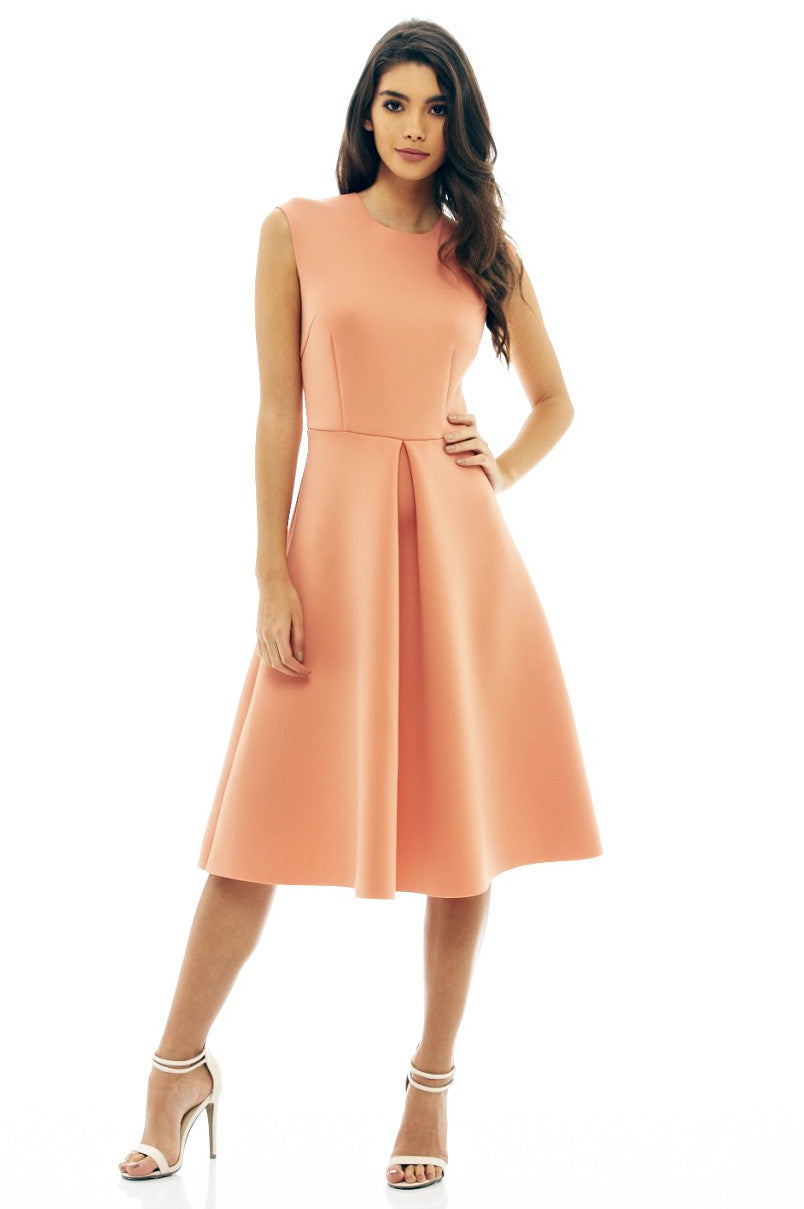 sleeveless scuba fit and flare midi party dress with pleats peach coral