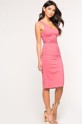 Women's basic sleeveless skinny tank jersey dress midi bodycon pink