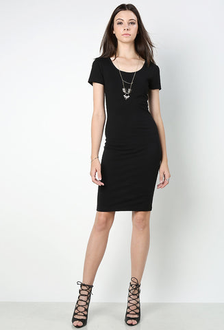 Womens casual street style short sleeve basic black bodycon midi jersey dress. Front view