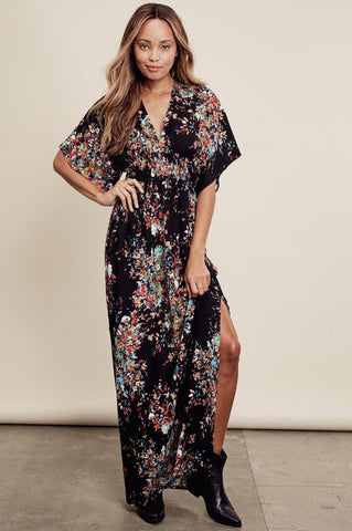 Womens boho dresses and street style casual outfit ideas: Sonam black printed deep v-neck, kimono sleeves maxi dress with slits.  Front view