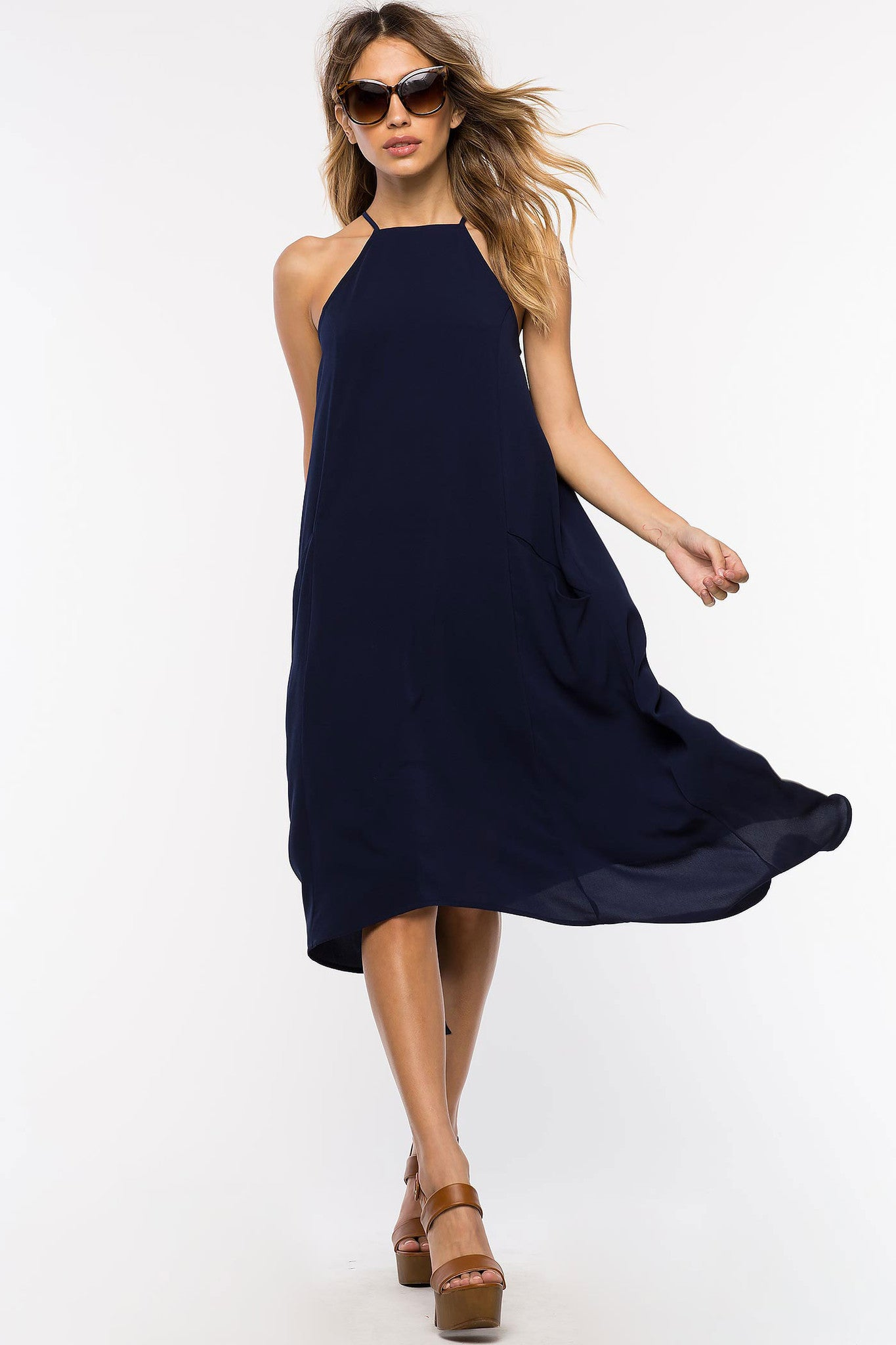 Womens Casual Street Style Fashion Sleeveless Loose Fit Tank Dress with Asymmetric hem and pockets. Navy Blue, front view