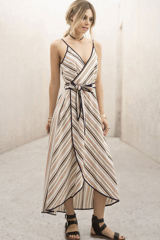 Women's sleeveless stripe surplice faux-wrap long maxi dress with spaghetti straps and v-neck. Going out dress