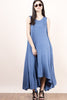 Casual street style sleeveless blue Jersey tank maxi dress