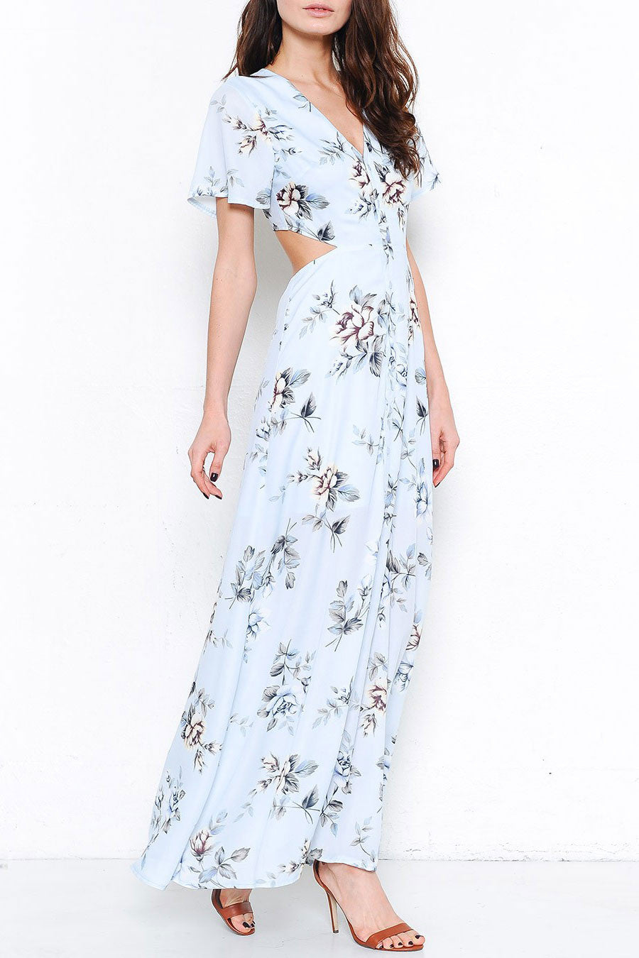 Blue and white maxi dress with short sleeve