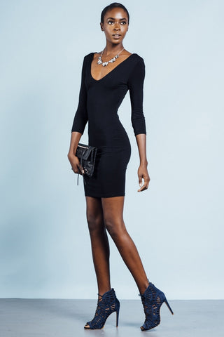 Modal V Neck 3/4 Sleeve Bodycon Basic Mini Jersey Dress in black lbd little black dress. Front view