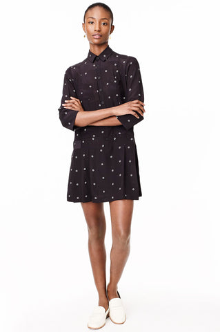 Women's mid 3/4 sleeve black printed button down casual mini dress silk sustainable eco fashion