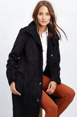 women's vegan faux suede and shearling mid length car coat in black