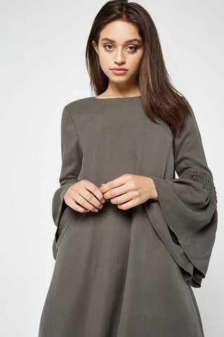 Women's long bell sleeve mini shift casual day dress for autumn fall outfits. Dark grey/olive