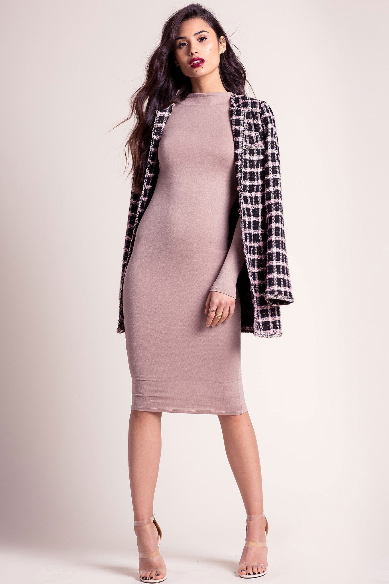 Memdalet long sleeve fleshtone taupe jersey bodycon midi dress. Front view