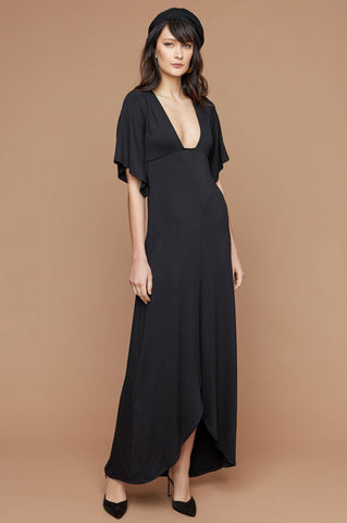 women's short flutter sleeve plunge neck long black maxi dress for going out. Party dress. wedding guest attire. LBD