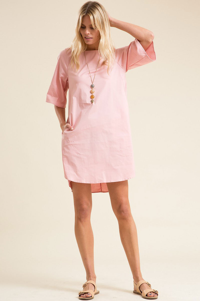 Women's short sleeve mini tunic shift dress. Cute casual summer outfit. Baby pink