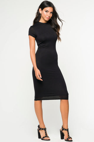 Black street style basic jersey mock neck short sleeve bodycon midi little black party dress. Front view