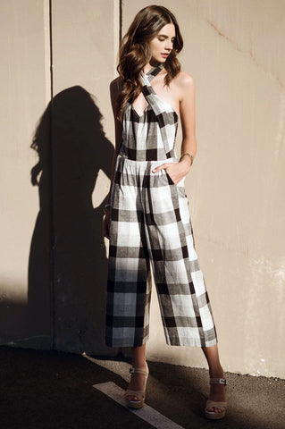 Women's sleeveless halter neck backless black and white gingham plaid print culotte jumpsuit